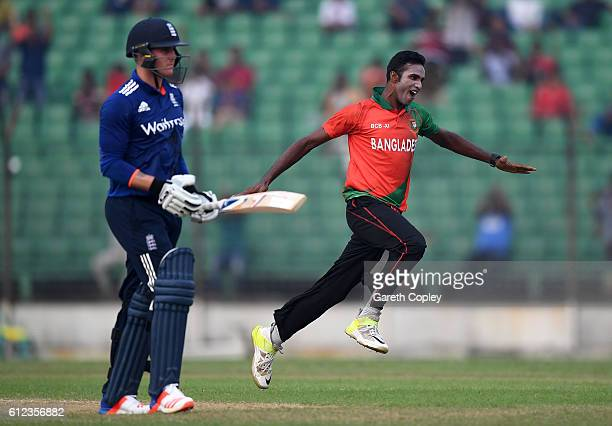 Ebadat Hossain of BCB Select XI celebrates dismissing Jason Roy of England during the tour match between Bangladesh Cricket Board Select XI and...