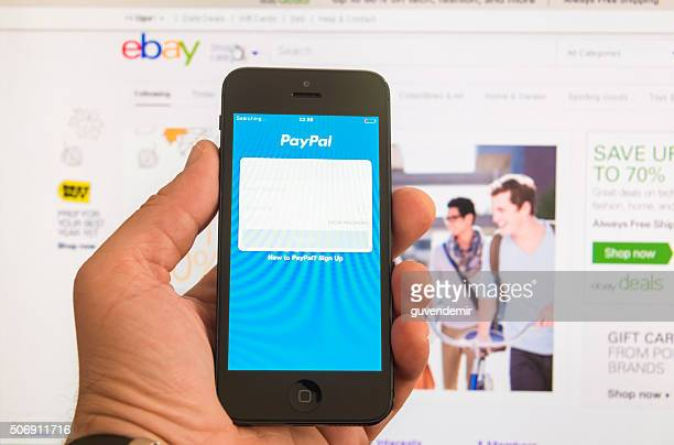 ebay and paypal - apple pay mobile payment stock pictures, royalty-free photos & images