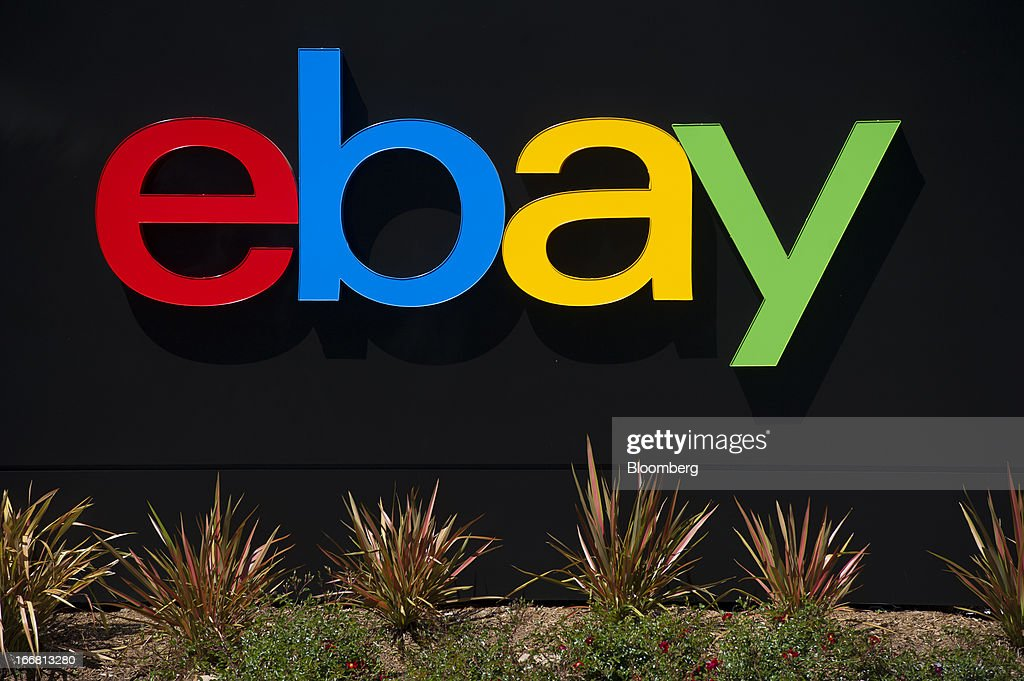EBay Inc. signage is displayed outside of the company's headquarters in San Jose, California, U.S., on Tuesday, April 16, 2013. Ebay Inc. is expected to release earnings data on April 17. Photographer: David Paul Morris/Bloomberg via Getty Images