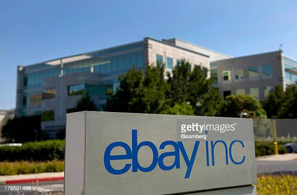 EBay Inc signage is displayed outside the company's north campus in San Jose California US on Tuesday Aug 13 2013 EBay Inc sales rose 204% in July...
