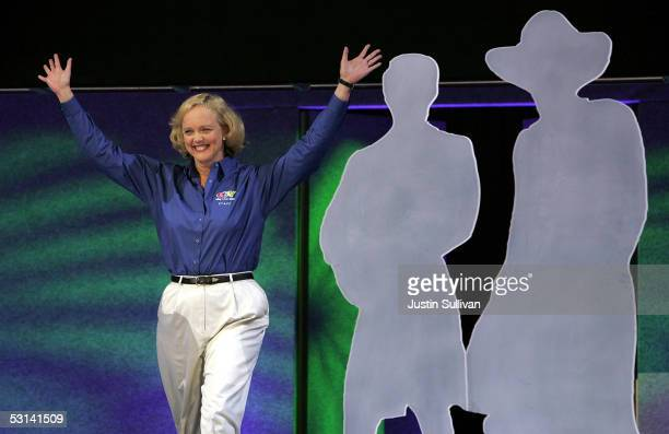 eBay President and CEO Meg Whitman delivers a keynote address at the 2005 eBay Live conference June 23 2005 in San Jose California The threeday eBay...