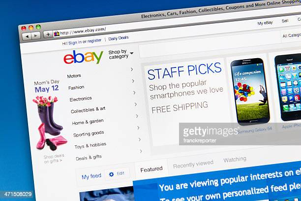 ebay.com homepage of retail store - bid stock pictures, royalty-free photos & images