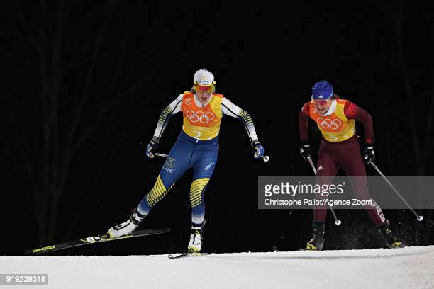 Ebba Andersson Anastasia Sedova of Russia in action during the CrossCountry Women's Relay at Alpensia CrossCountry Centre on February 17 2018 in...