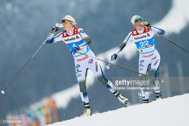 Ebba Andersson in action Frida Karlsson takes 3rd place during the FIS Nordic World Ski Championships Women's Cross Country Mass Start on March 2...
