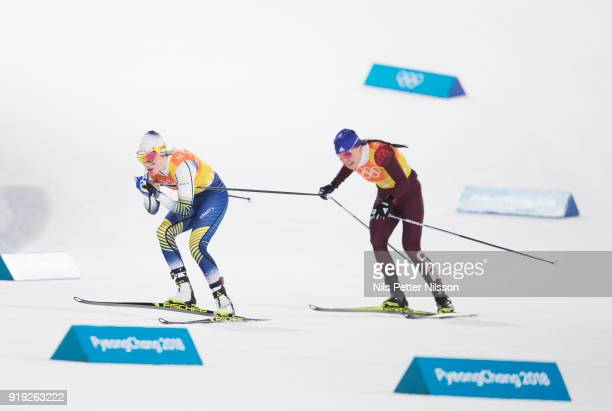 Ebba Andersson of Sweden and Anastasia Sedova of Olympic Athletes of Russia during the Womens 4x5km Relay CrossCountry Skiing on day eight of the...