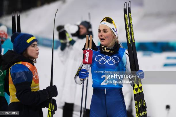 Ebba Andersson of Sweden and Stina Nilsson of Sweden during the Womens 4x5km Relay CrossCountry Skiing on day eight of the PyeongChang 2018 Winter...