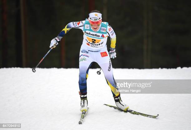 Ebba Andersson of Sweden competes during the Women's Cross Country 4x5km Relay at the FIS Nordic World Ski Championships on March 2 2017 in Lahti...