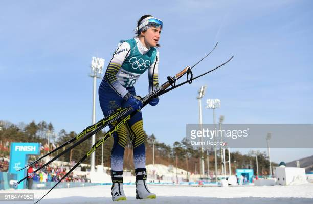 Ebba Andersson of Sweden crosses the finish line during the CrossCountry Skiing Ladies' 10 km Free on day six of the PyeongChang 2018 Winter Olympic...