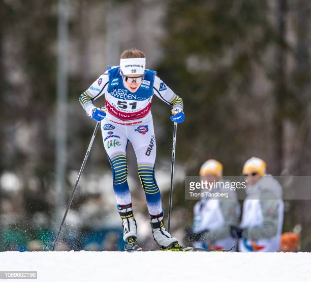 Ebba Andersson of Sweden during FIS WC Cross Country Ladies 100 km Interval Start Free on January 26 2019 in Ulricehamn Sweden