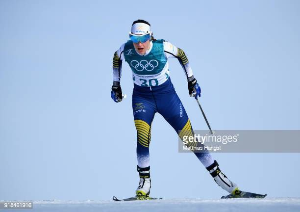 Ebba Andersson of Sweden during the CrossCountry Skiing Ladies' 10 km Free on day six of the PyeongChang 2018 Winter Olympic Games at Alpensia...