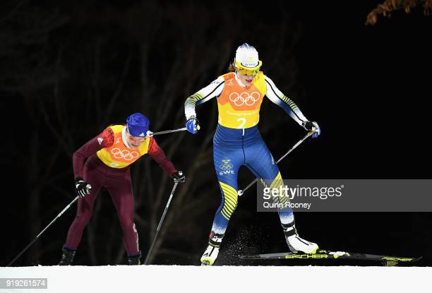 Ebba Andersson of Sweden during the Ladies' 4x5km Relay on day eight of the PyeongChang 2018 Winter Olympic Games at Alpensia CrossCountry Centre on...