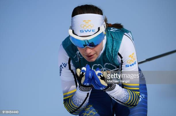 Ebba Andersson of Sweden skis during the CrossCountry Skiing Ladies' 10 km Free on day six of the PyeongChang 2018 Winter Olympic Games at Alpensia...