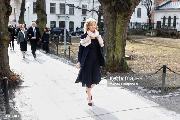 Ebba Busch Thor attends a tribute to victims of Stockholm terrorist attack on the first anniversary on April 7, 2018 in Stockholm, Sweden.