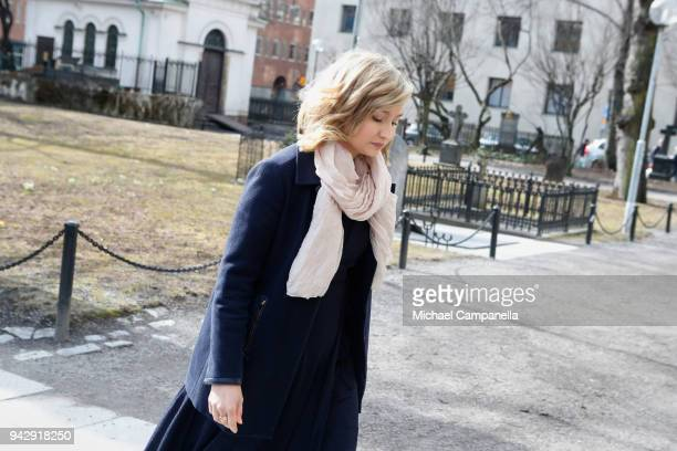 Ebba Busch Thor attends a tribute to victims of Stockholm terrorist attack on the first anniversary on April 7 2018 in Stockholm Sweden