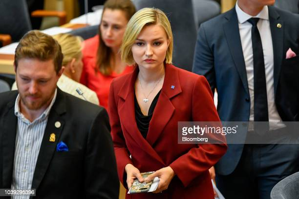 Ebba Busch Thor leader of the Christian Democrats center attends a session in Parliament in Stockholm Sweden on Monday Sept 24 2018 The 349person...