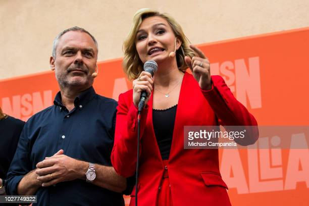 Ebba Busch Thor leader of the Christian Democrats party and Jan Bjorklund leader of the Liberal party campaigns at Dragarbrunns Square ahead of the...