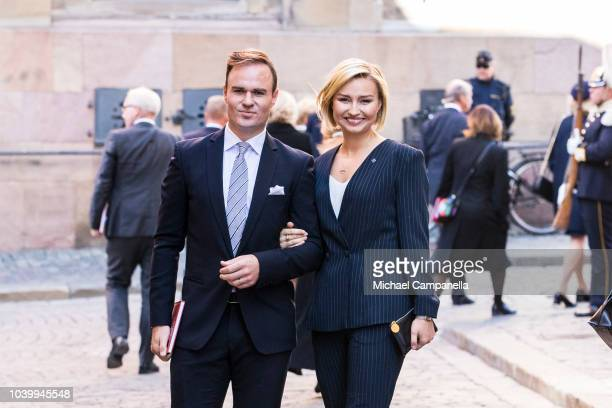 Ebba Busch Thor, leader of the Christian Democrats party, attends a church service at the Stockholm Cathedral in connection with the opening of the...