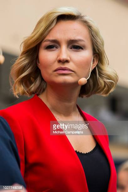 Ebba Busch Thor leader of the Christian Democrats party campaigns at Dragarbrunns Square ahead of the Swedish general election on September 6 2018 in...