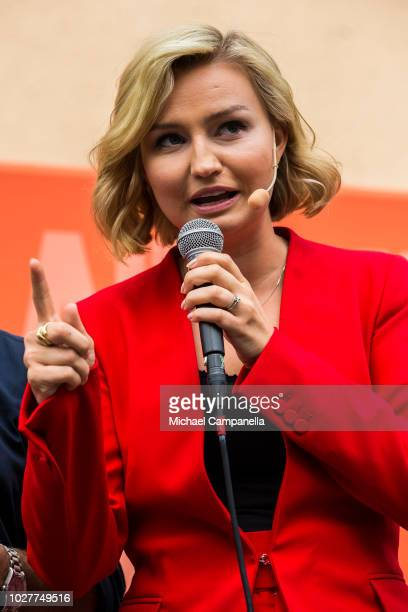 Ebba Busch Thor, leader of the Christian Democrats party, campaigns at Dragarbrunns Square ahead of the Swedish general election on September 6, 2018...