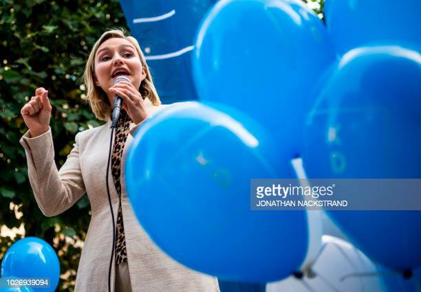 Ebba Busch Thor leader of the Christian Democrats Party in Sweden speaks during an election rally in Stockholm on September 5 2018 The general...