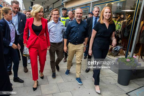 Ebba Busch Thor leader of the Christian Democrats party Ulf Kristersson leader of the Moderate party Annie Loof leader of the Center party and Jan...