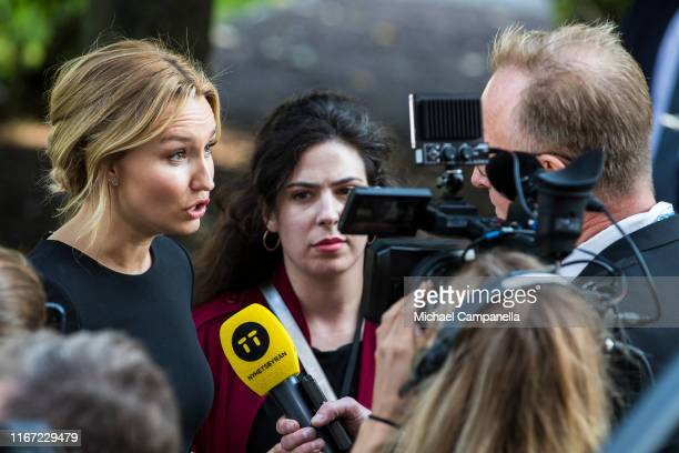 Ebba Busch Thor leader of the Swedish Christian Democrats arrives at the Swedish Parliament House for the opening of the new parliamentary session on...