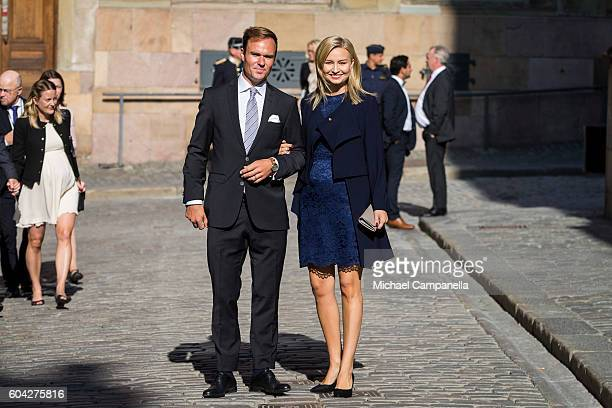Ebba Busch Thor of the Christian Democrats party and husband attend a ceremony at Storkyrkan in connection with the opening session of the Swedish...