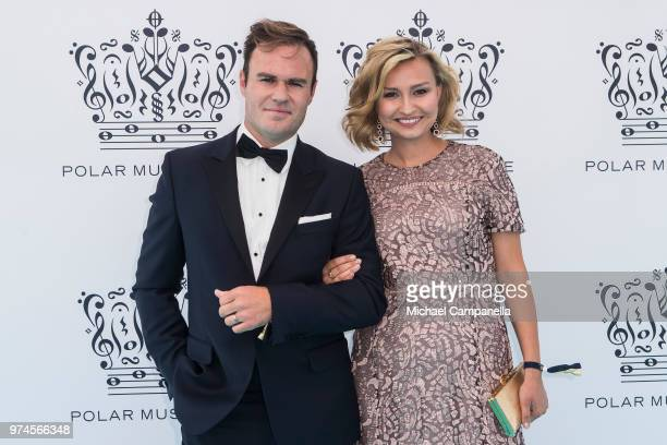 Ebba Busch Thor party leader for the Christian Democrat Party and guest attend the 2018 Polar Music Prize award ceremony at the Grand Hotel on June...