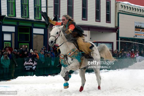 Ebbie Hansen races down Harrison Avenue during the 71st annual Leadville Ski Joring weekend competition on March 2 2019 in Leadville Colorado...