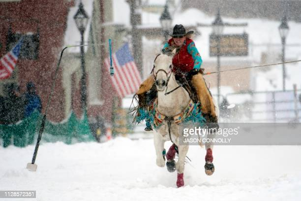 Ebbie Hansen races down Harrison Avenue during the 71st annual Leadville Ski Joring weekend competition under the snow on March 3 2019 in Leadville...