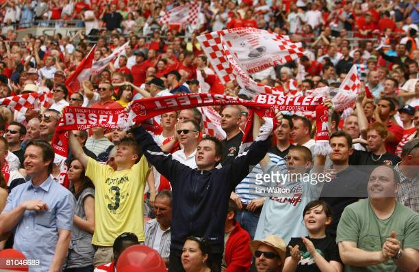 Ebbsfleet fans cheer on their team during the FA Trophy Final between Ebbsfleet United and Torquay United at Wembley Stadium on May 10, 2008 in...