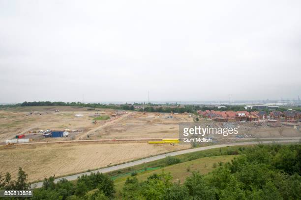 Ebbsfleet 'Garden City' eastern quarry building site and partially complete Castle Hill area on 09th July 2016 in Kent United Kingdom Up to 15000...
