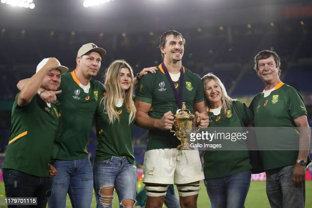 Eben Etzebeth of South Africa and his family after the Rugby World Cup 2019 Final match between England and South Africa at International Stadium...