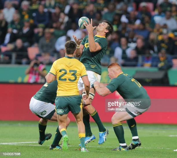 Eben Etzebeth of South Africa catches the ball during the Rugby Championship match between South Africa and Australia at Nelson Mandela Bay Stadium...