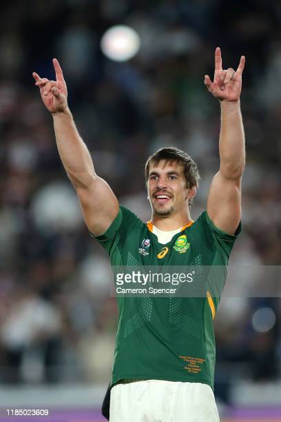 Eben Etzebeth of South Africa celebrates victory following the Rugby World Cup 2019 Final between England and South Africa at International Stadium...