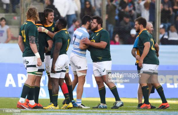 Eben Etzebeth of South Africa celebrates with teammates after winning the Rugby Championship 2019 after a match between Argentina and South Africa as...