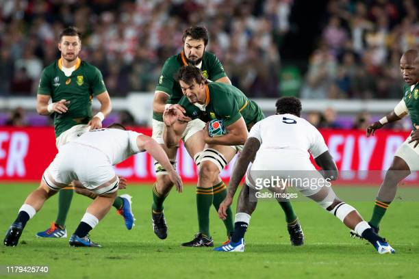 Eben Etzebeth of South Africa charges upfield during the Rugby World Cup 2019 Final between England and South Africa at International Stadium...