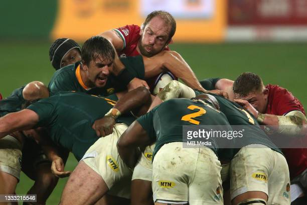 Eben Etzebeth of South Africa controls the rolling maul as British & Irish Lions captain Alun Wyn Jones attempts to disrupt it during the 3rd Test...