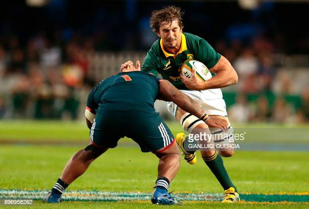 TOPSHOT Eben Etzebeth of South Africa is tackled by Jefferson Poirot of France during the International test match between South Africa and France at...