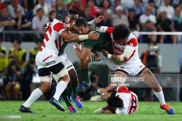 Eben Etzebeth of South Africa is tackled during the international match between Japan and South Africa at Kumagaya Rugby Stadium on September 6 2019...