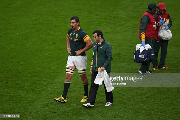 Eben Etzebeth of South Africa leaves the pitch after picking up an injury during the Old Mutual Wealth Series match between England and South Africa...