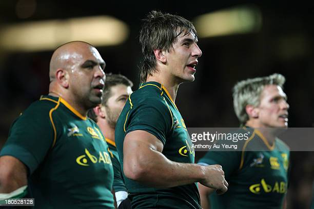 Eben Etzebeth of South Africa looks on during The Rugby Championship match between the New Zealand All Blacks and the South African Springboks at...