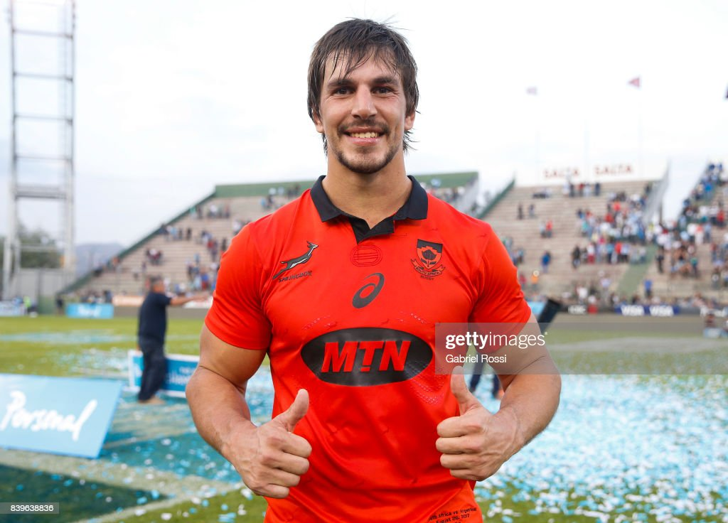 Eben Etzebeth of South Africa pose for a photo after winning the round two match between Argentina and South Africa as part of The Rugby Championship 2017 at Padre Martearena Stadium on August 26, 2017 in Salta, Argentina. South Africa wore a red commemorative jersey to celebrate the 25th anniversary of rugby unity in South Africa.