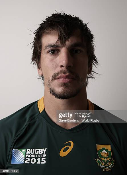 Eben Etzebeth of South Africa poses for a portrait during the South Africa Rugby World Cup 2015 squad photo call at the Grand Hotel on September 13...