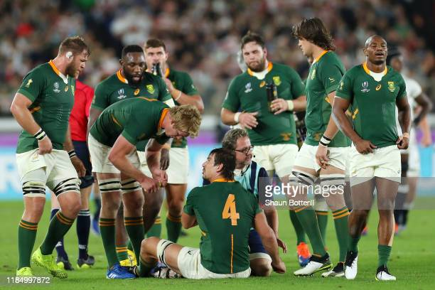 Eben Etzebeth of South Africa receives treatment during the Rugby World Cup 2019 Final between England and South Africa at International Stadium...