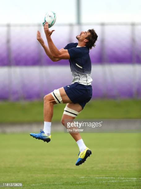 Eben Etzebeth of South Africa takes a high ball during South Africa Rugby training at Asahi Football Park on October 16 2019 in Fuchu Tokyo Japan