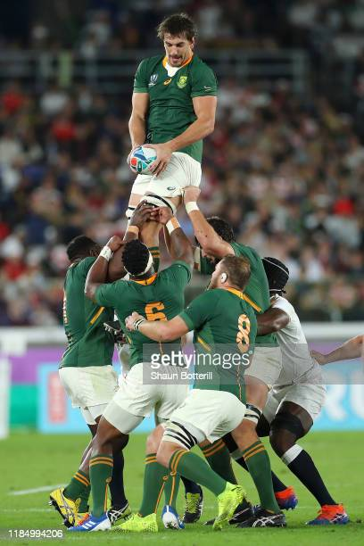 Eben Etzebeth of South Africa takes the ball in the lineout during the Rugby World Cup 2019 Final between England and South Africa at International...