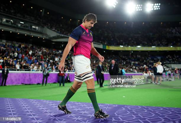 Eben Etzebeth of South Africa walks out onto the pitch prior to the Rugby World Cup 2019 Final between England and South Africa at International...