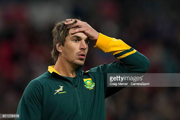 Eben Etzebeth of South Africa warms up during the Killik Cup match between the Barbarians and South Africa at Wembley Stadium on November 5 2016 in...