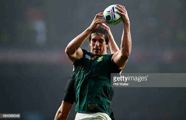 Eben Etzebeth of South Africa wins the ball in a line out during the 2015 Rugby World Cup Semi Final match between South Africa and New Zealand at...